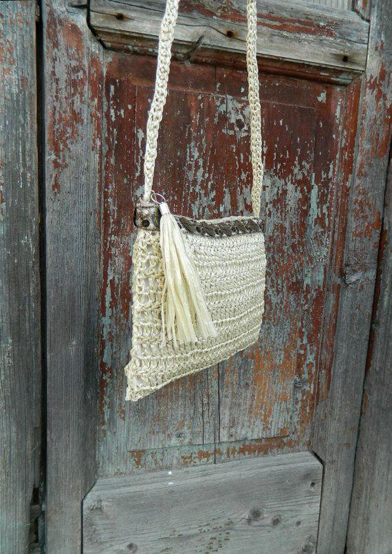 boho crochet  bag  raffia shoulder bag crochet  bag by lecosedites