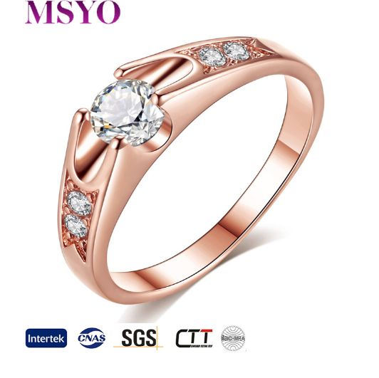 MSYO brand 18K gold ring zircon wedding latest gold ring designs wholesale