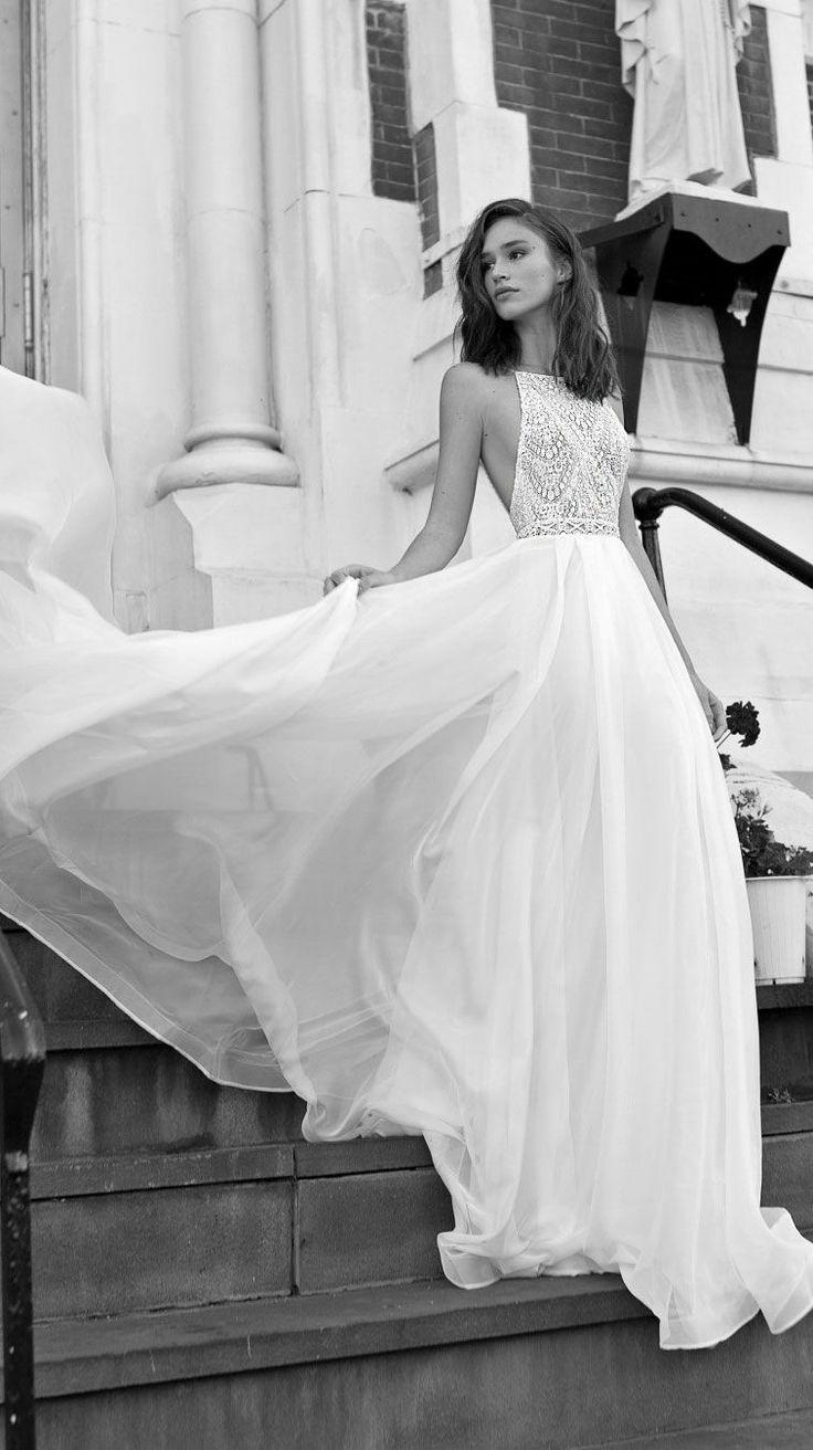 Halter neck open back a line Wedding Dress #wedding #weddingdress #weddinggown #…