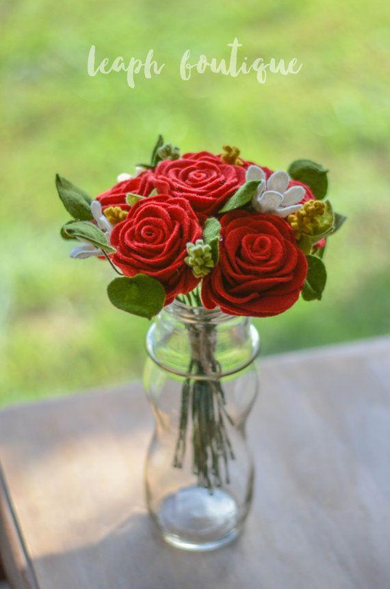 Rose & Wildflower Bouquet / Handmade Felt Flowers  ✄ Rose (6) ✄ Wildflower (3) ✄ Greenery (11)