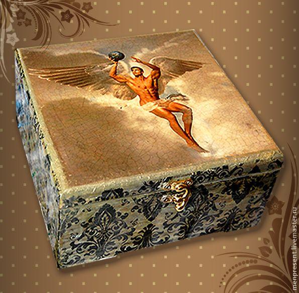 "Купить Коробка для чая ""Икар"" - Декупаж, шкатулка декупаж, коробка для чая, коробка для чая декупаж"