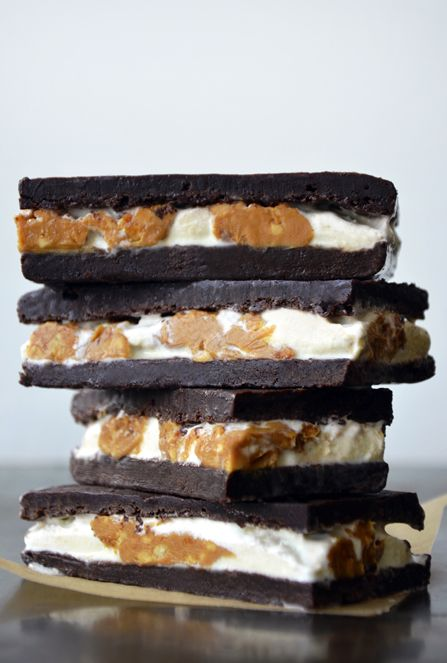 Peanut Butter Brownie Ice Cream Sandwiches by Just a Taste
