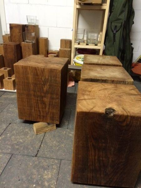 Beistelltische - Eiche, Block, Klotz, Quader; Hocker, Beistelltisch - ein Designerstück von Massivholz-Kai bei DaWanda