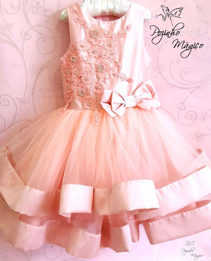 Vestido infantil saia tule laço e bordado Petit Cherie