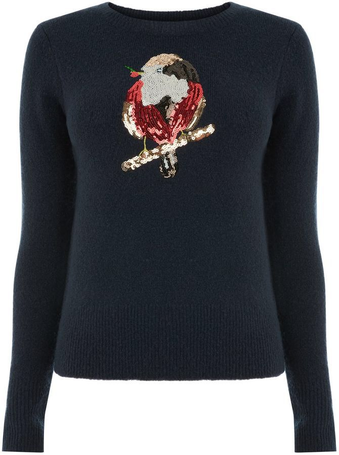 Lots of sparkly sequins with this gorgeous Oasis Robin And Holly women's Xmas Jumper (Affiliate link)