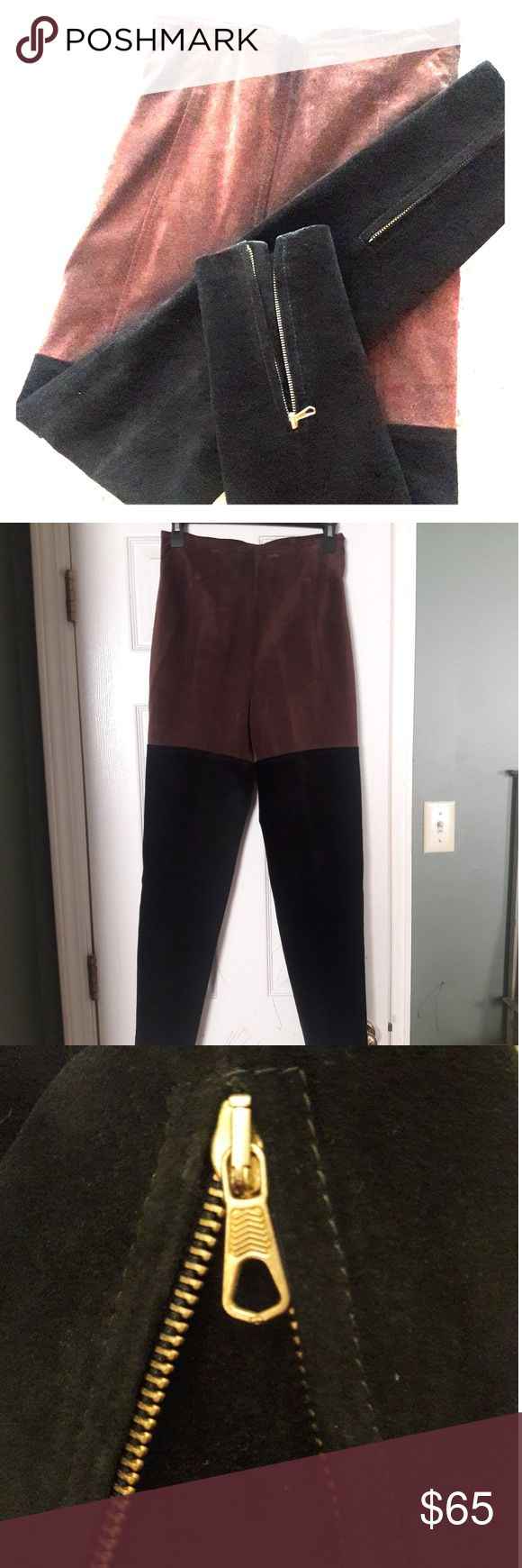 """Vera Pelle vintage high waisted leather trousers This is a really interesting piece. Two toned leather pants, ultra high waisted! The cuffs have a zippered split that opens to help you """"get your feet through"""", can be worn as a boot cut or skinny silhouette. They zip closed at the side. These are form fitting, no stretch at all! I have included as many measurements as I could think to take. If you have any questions please don't hesitate to ask! Highest waist: 26"""" Front rise: 12"""" Inseam: 28…"""