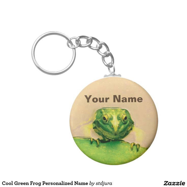 Cool Green Frog Personalized Name Basic Round Button Keychain