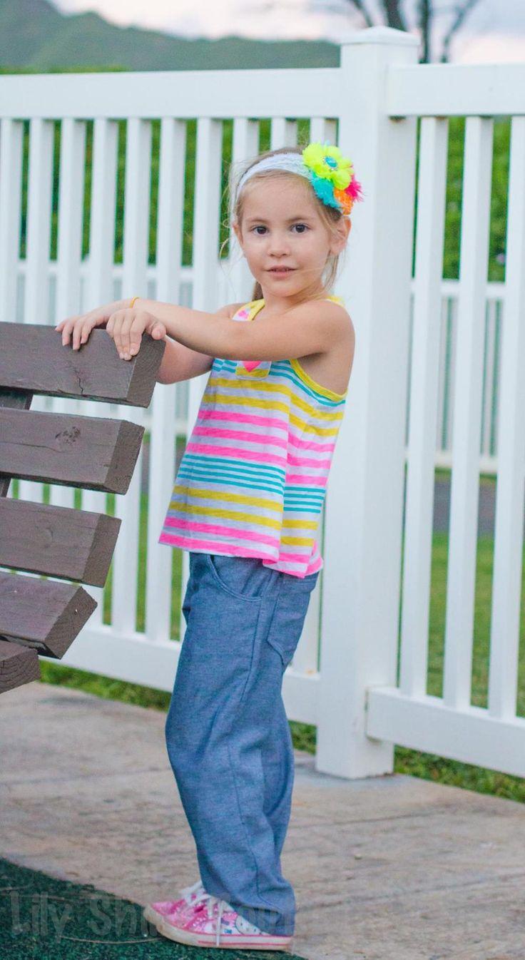 Pattern Emporium Girls 'Ava' Jeans PDF Pattern. Flat front, adjustable elastic back waist.