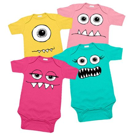 100% cotton. Hand printed in USA. Gift set includes coordinating one piece rompers. All images and designs Copyright © My Baby Rocks and the set sells for $51.95...