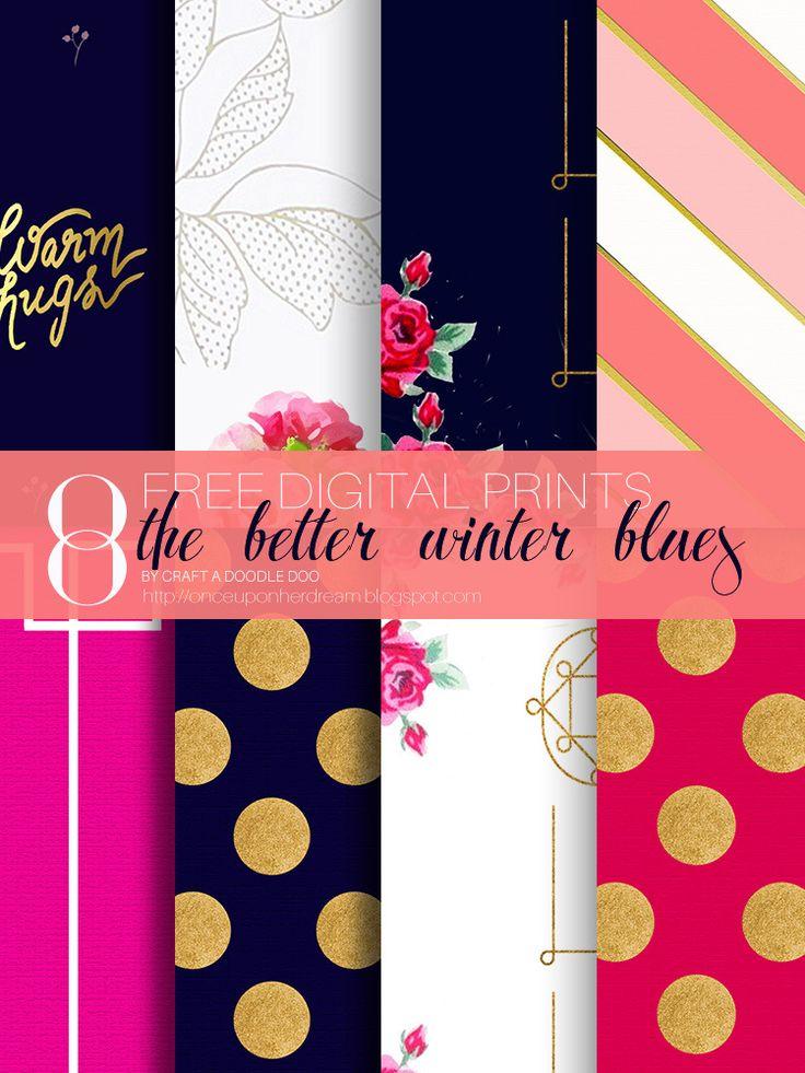 the better winter blues - 8 free digital prints :: craft a doodle doo