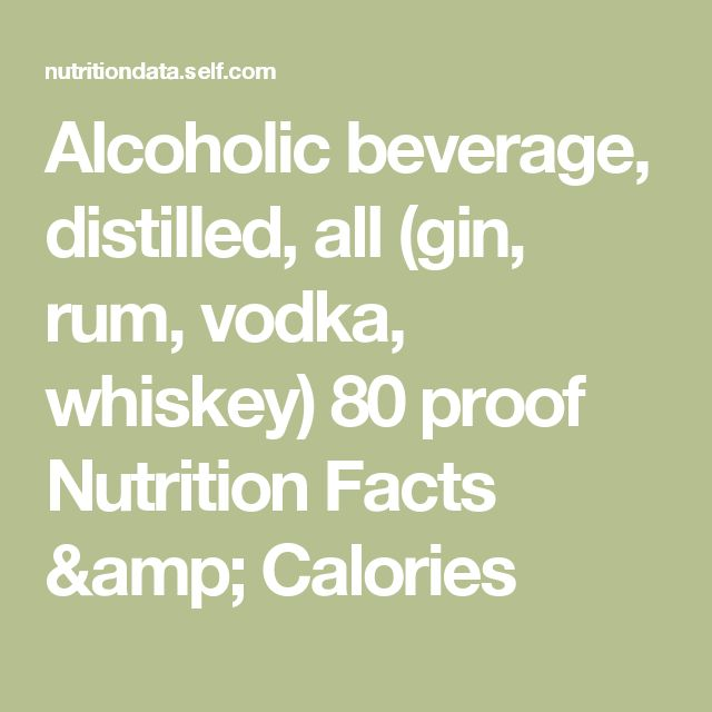 Alcoholic beverage, distilled, all (gin, rum, vodka, whiskey) 80 proof Nutrition Facts & Calories