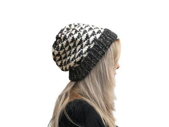 Triangle Hat / Knit Beanie Hat /  Geometric Dark by PepperKnit
