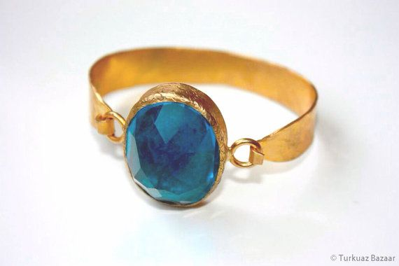 Huma Handcrafted 22k Gold Plated Bracelet with by TurkuazBazaar, $70.00