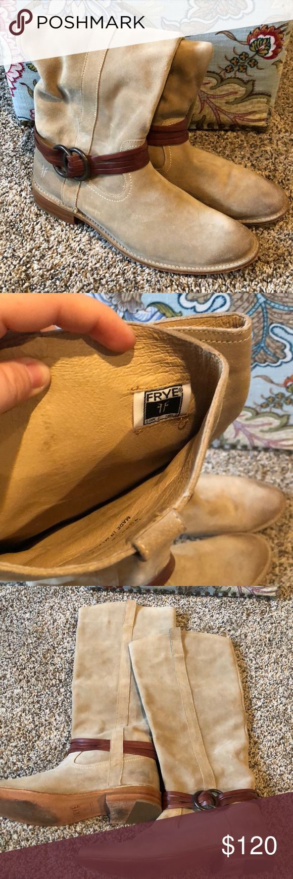 Suede Frye Riding Boots - Excellent Condition These suede Frye books are beautiful either the amazing quality of Frye! Generally used (only once)! Frye Shoes Heeled Boots