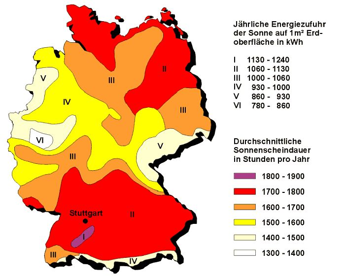 Image result for Sonnenscheindauer in Deutschland karte