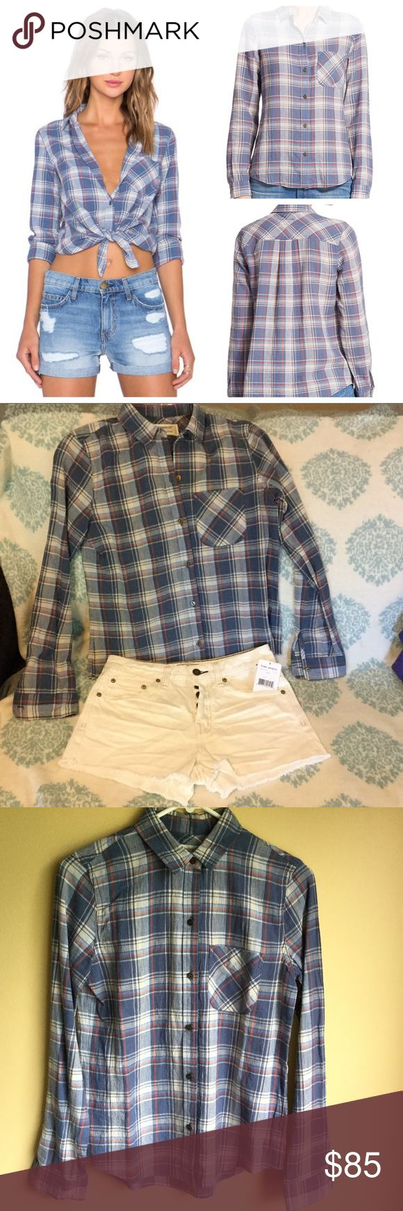 "NWT Current/Elliott slim boy 👚 paradise plaid sz0 NWT Current/Elliott ""The Slim Boy Shirt"" in paradise plaid. Size 0. Wear it buttoned, unbuttoned, tied...with jeans or shorts (theFree People shorts shown here are listed separately).There is a tiny pinhole just below the inside collar (see photo). It is pretty much under the collar from the outside, but I took a photo pointing it out. Current/Elliott Tops Button Down Shirts"