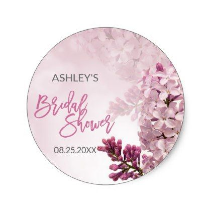 #Floral Pink Lilac Spring Bridal Shower Thank You Classic Round Sticker - #wedding gifts #marriage love couples