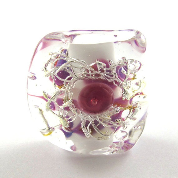 items similar to sale lampwork bead handmade lampwork bead glass focal lampwork bead pink and white squeezed bead sra on etsy