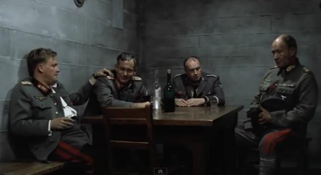 General Wilhelm Burgdorf, General Hans Krebs, Martin Borman and General Weidling in the bunker in Der Untergang