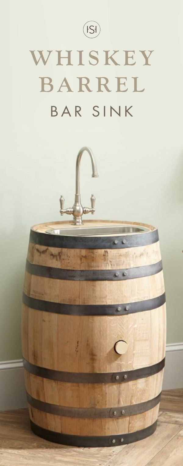 We love the idea of adding this Embden Whiskey Barrel Bar SInk with Narrow Stainless Steel Sink to the design of your basement home theatre or man cave—it's the perfect piece for adding rustic charm!