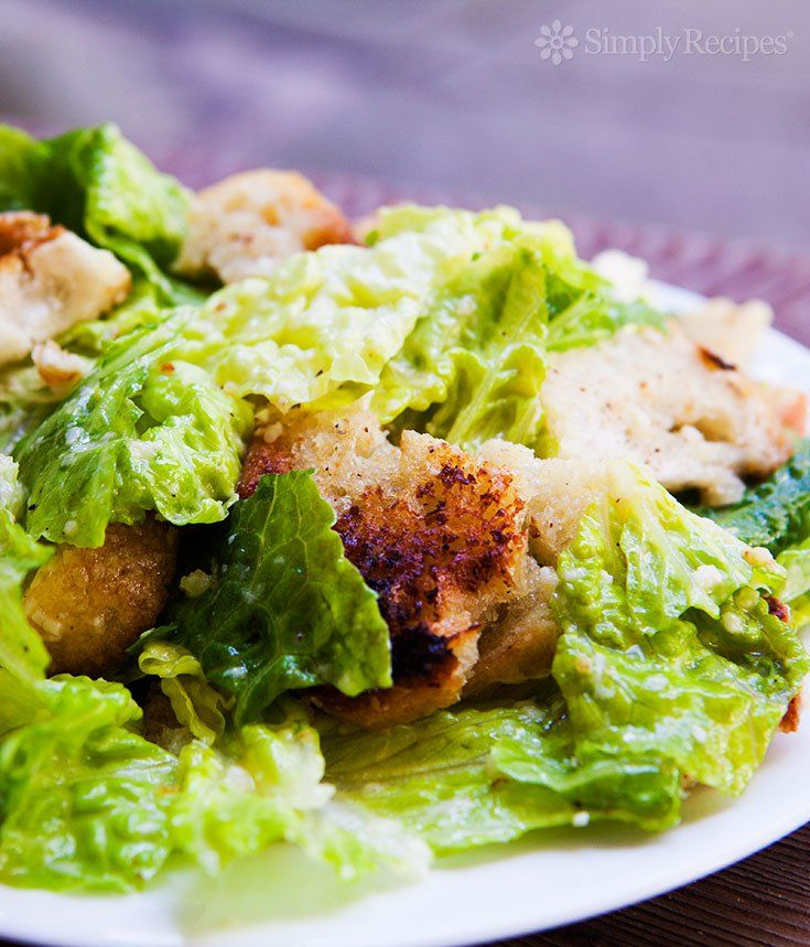 Caesar Salad ~ Classic Caesar Salad with romaine lettuce, homemade croutons, parmesan cheese, eggs and anchovies. ~ SimplyRecipes.com