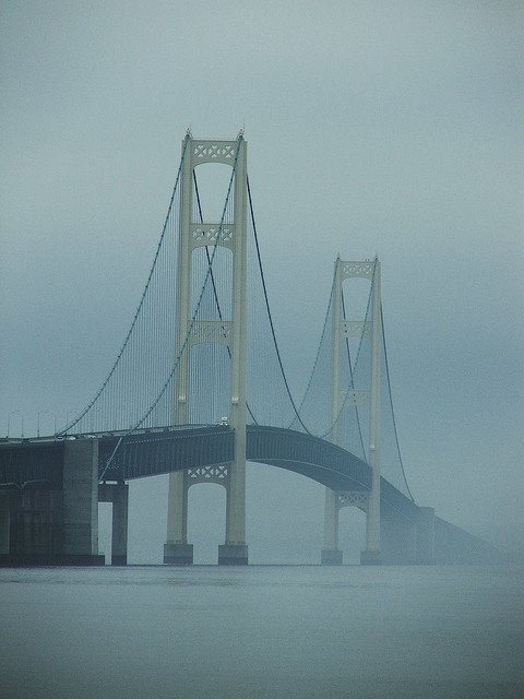 """We took a vacation to see this """"5 mile long"""" bridge when I was 8. Didn't know the name of it til years later....The Mackinac Bridge connecting lower Michigan and the UP."""