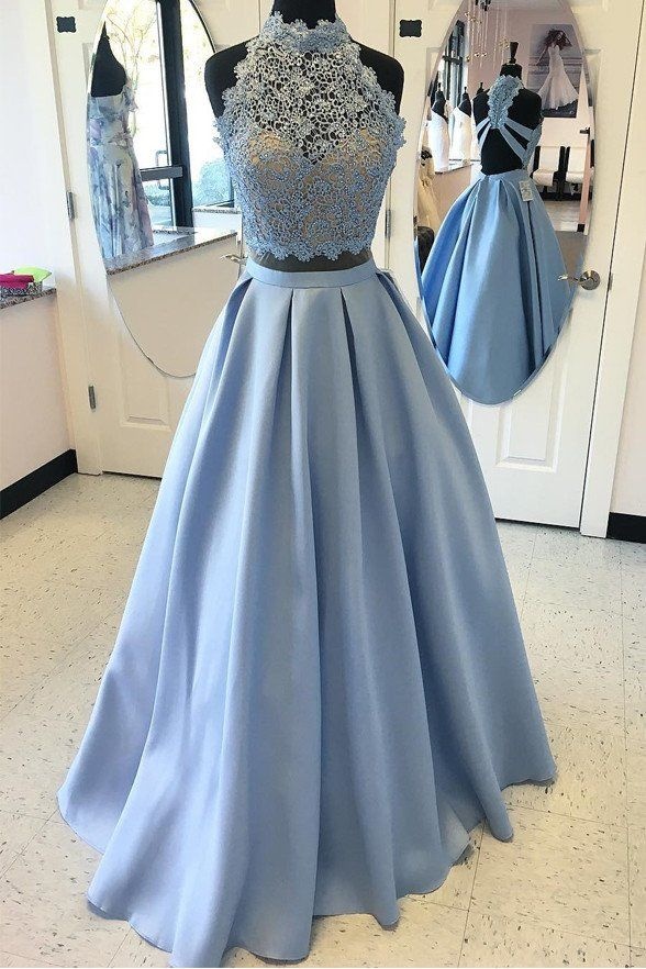 Light Blue Lace Two Pieces High Neck Backless Prom Dress Evening Gowns LD111