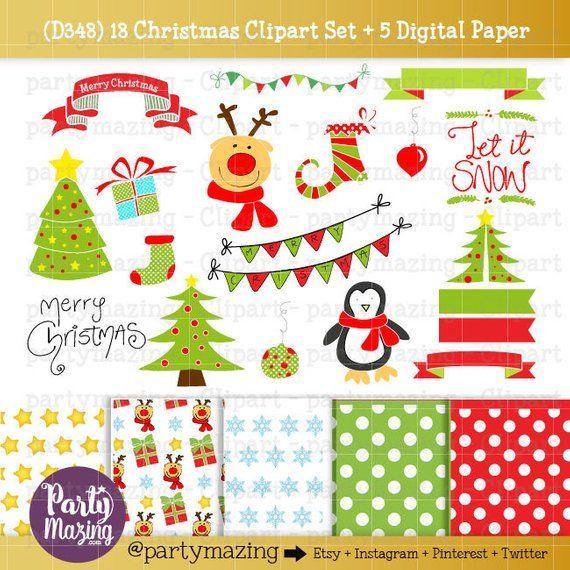 Christmas ClipArt, Penguin, Reindeer ClipArt set, Rudolph, Let it