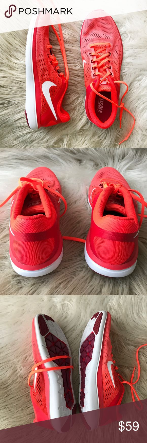 NWOT Nike Flex 2016 Run Mango Neon Running Shoes NWOT, never worn Nike running sneakers. Fitsole cushioning and padded heels and toes for extra comfort. Bright neon orange / Coral / and white colors // great pop of color at the gym and on the road! Nike Shoes Athletic Shoes