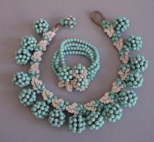 Miriam Haskell aqua bead and rhinestone jewelry