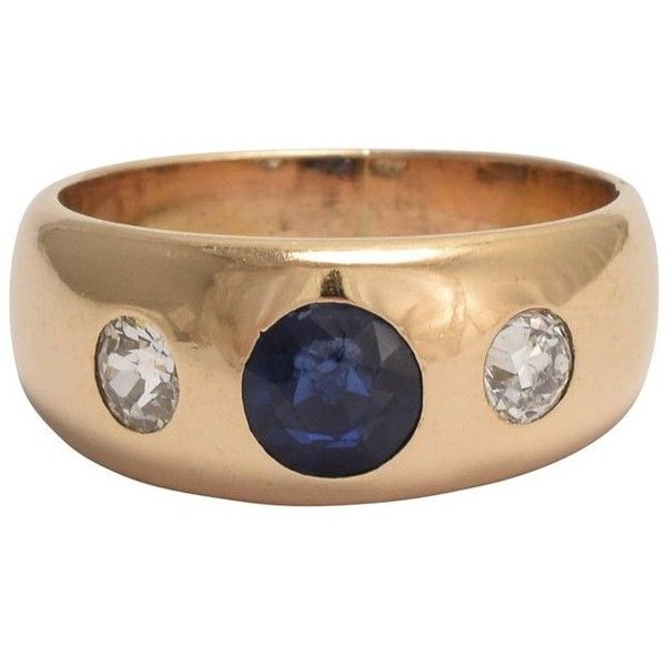 Preowned Victorian Sapphire Diamond Three-stone Gypsy Ring ($1,400) ❤ liked on Polyvore featuring jewelry, rings, band rings, blue, diamond rings, sapphire band ring, sapphire diamond ring, blue diamond rings and blue sapphire ring