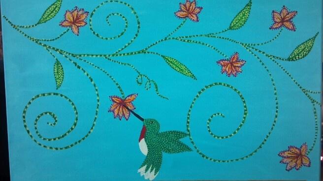 Hummingbird vine Artwork by Audrey F