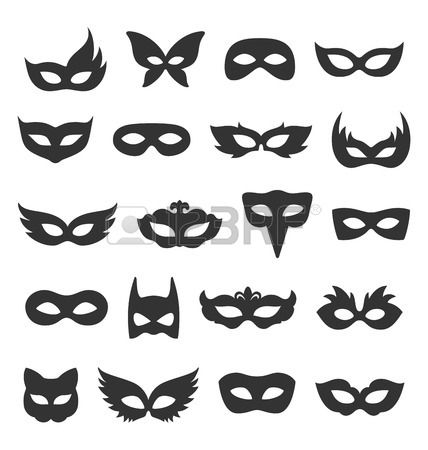 Set Collection of Black Carnival Masquerade Masks Icons Isolated on White Background. Stock Photo - 55717527