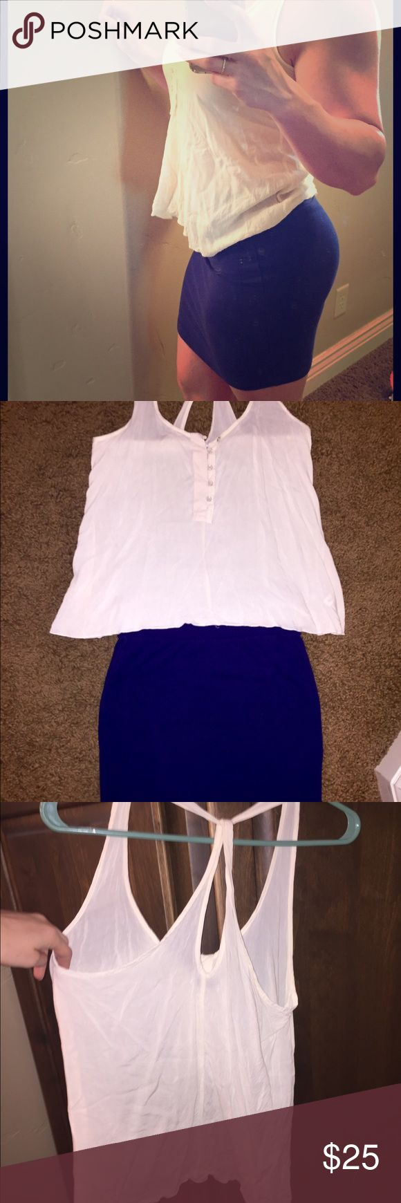 Cute, light Viscose Top & Periwinkle mini skirt Sexy and fun outfit to wear out dancing or out with the girls. Love this Gap top, and only wore it once- my boobs are too big for it. The skirt is Forever 21 and is very cute & flattering!! Make me an offer GAP Tops Tank Tops