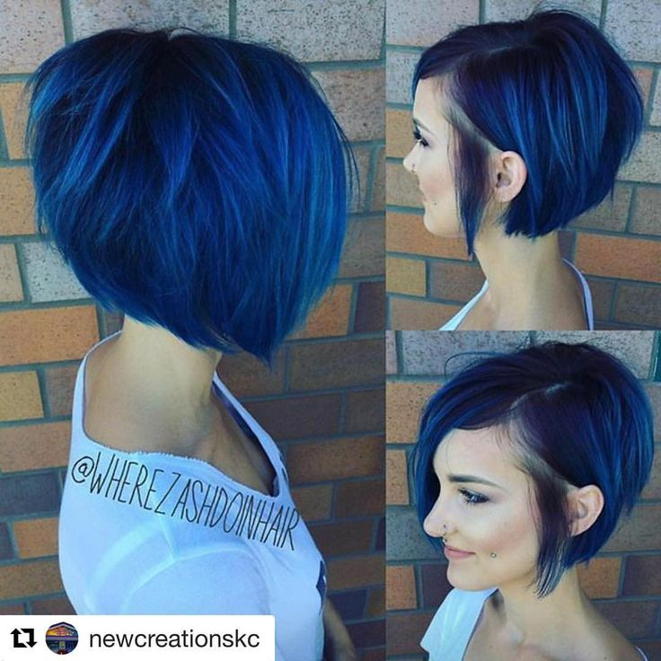 Gorgeous blue bob haircut