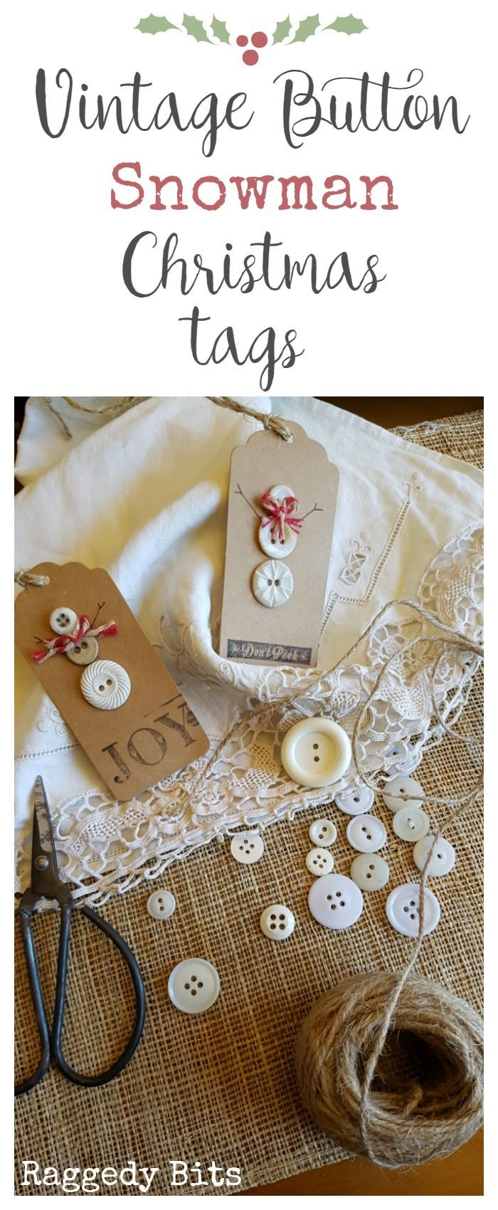 Make some Vintage Button Snowman Christmas Tags to jazz up your present wrapping or add to your tree for a unique Christmas decoration.