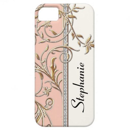 Antiqued Gold Golden Swirl Faux Jewel Personalized iPhone 5 Cases NOTE: This is a faux flat printed design. There are no actual jewels, bling or gold metal dimensional elements layered on it. COLOR PALETTE: blush, rose, pink, faux gold metal, and cream, creamy off white. DESIGN STYLE: Personalized, trendy, chic personalized customized protective phone case or cover with your name featured prominently in a strong graphic vertical layout.