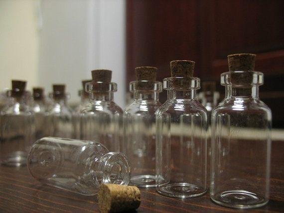 100 5ml vials. Empty Corked Glass Bottles. Wedding by BittyBottle, $33.99