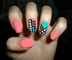 #nails #summer #art #coral #peach #tribal