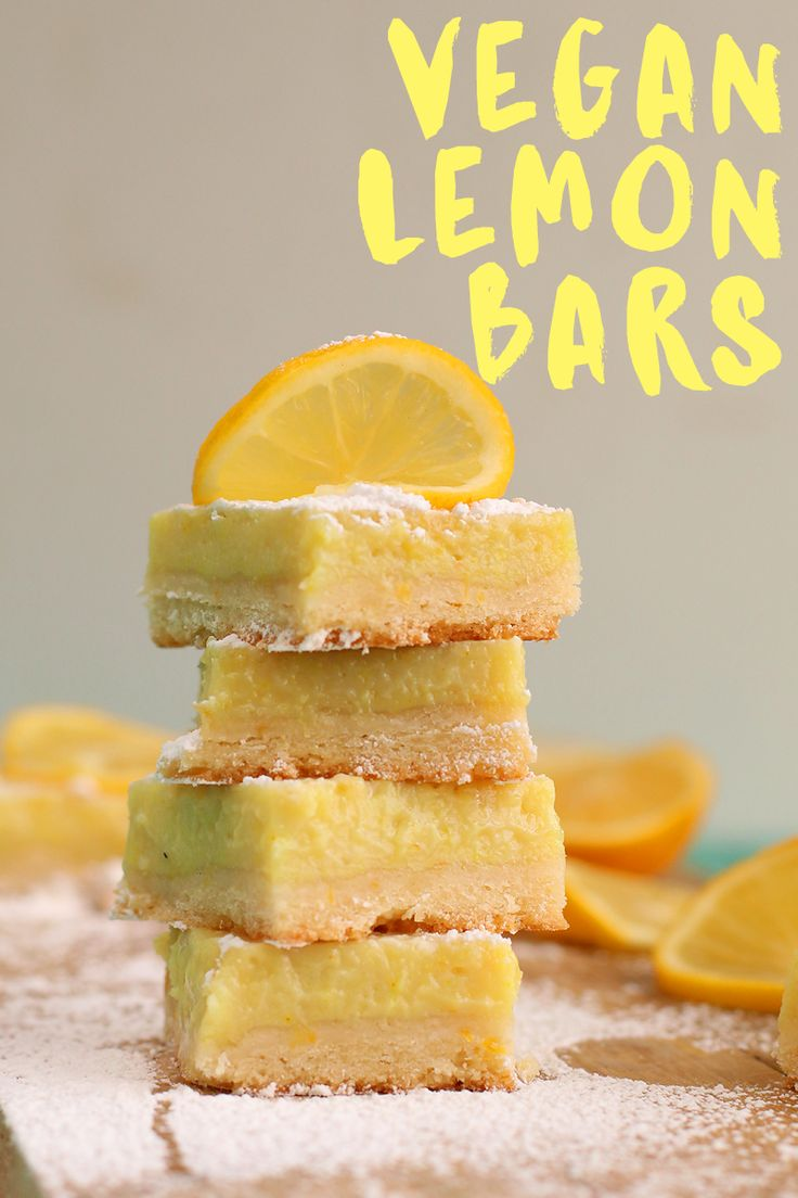 These vegan Lemon Bars are made with a buttery shortbread crust and filled with an easy Meyer lemon curd for the perfect sweet and sour treat.