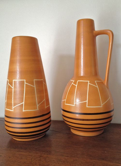 Many a West German vase has passed through my hands over the last couple of years but I must proclaim that these two are by far my favourites. Their geometric designs and organic colour insure that they remain contemporary and stylish after almost 40 years.  POA retorumage@gmail.com
