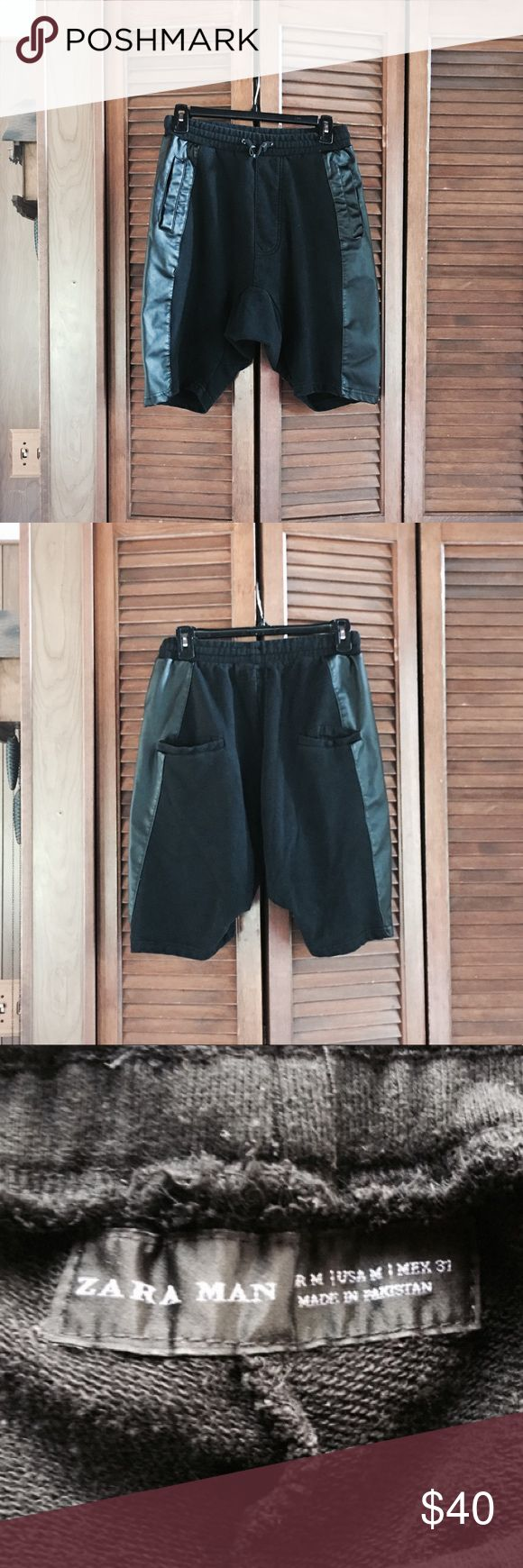 🎉SALE🎉Zara Drop-Shot Shorts Zara men's size M drop-shot black shorts with black leather side details. NWT. Rare item! Zara Shorts