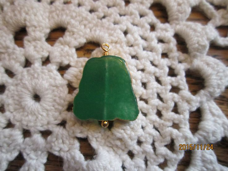 Vintage Gold Tone - 20.00 Carat Green Jade Polished Healing Stone Pendant, 24.20x10.13mm, Wt. 4.2 Grams by TamisVintageShop on Etsy