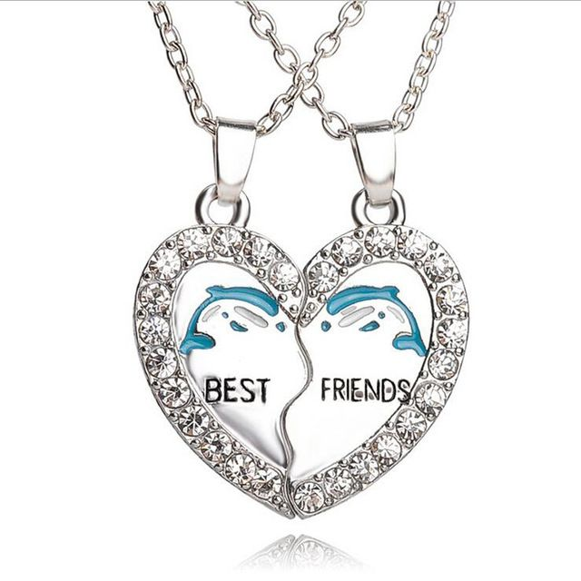 Best Friends Dolphin Matching Heart Paired Pendant Necklace Women Gifts Jumping Dolphins Pendant Chain Couple Necklace Jewelry