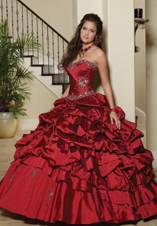Vestidos de Fiesta de 15 Años de color Rojo