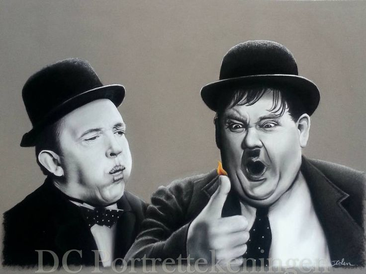 """""""Laurel and Hardy"""" portraitdrawing made with pastelpencils #realistic #portrettekening #portraitdrawing #hyperrealistic #hyperrealisticart #blackandwhitedrawing #drawing #pasteldrawing #laurelandhardy #blackandwhite #art #realism #realisticdrawing"""