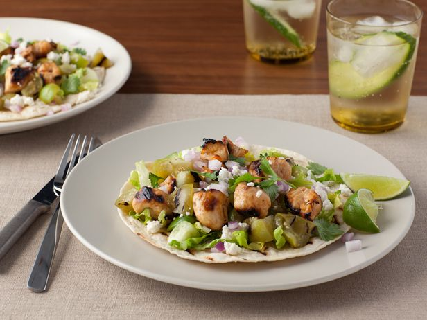Grilled Chicken Tostadas al Carbon with Grilled Tomatillos and Queso ...