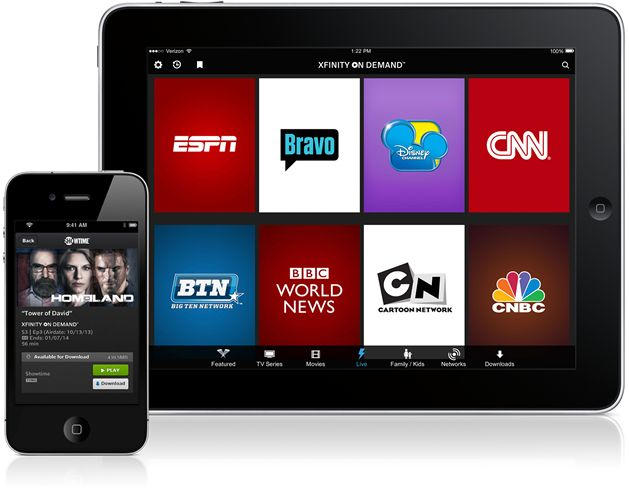 XFINITY TV Go App on a tablet and phone. download TV shows