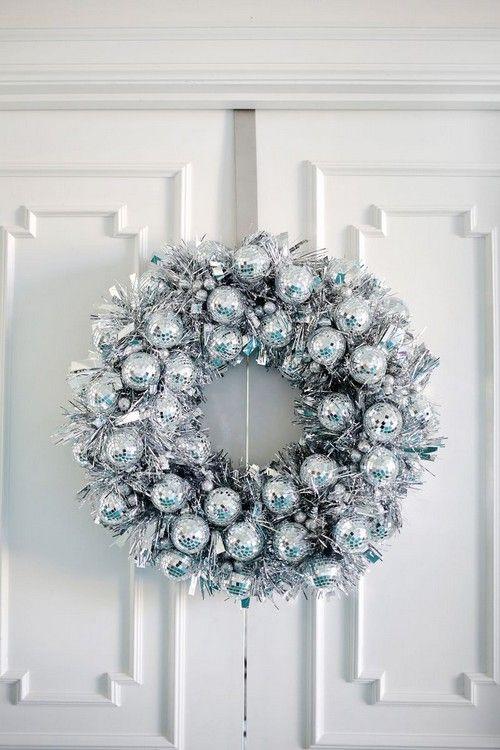 Home Decor: 25 Christmas Wreath Ideas Messagenote.com Disco ball wreath