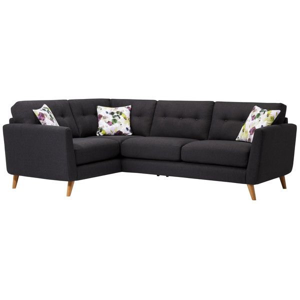 Charcoal Fabric Sofas Corner Sofa Right Hand Evie Range Oak Furnitureland Corner Sofa Sofa Fabric Sofa